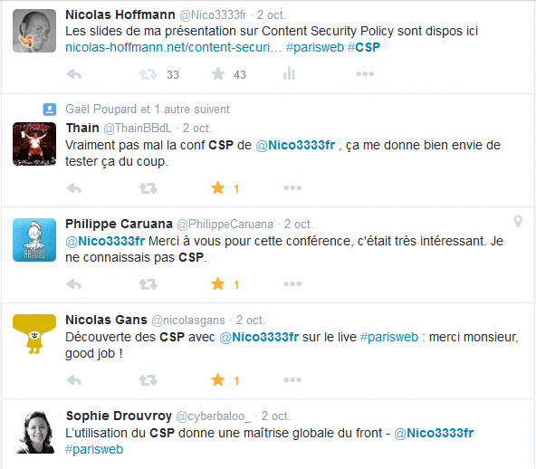 Quelques tweets juste après la conférence