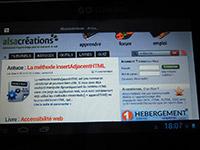 Alsacréations sur une tablette Go-Nomad