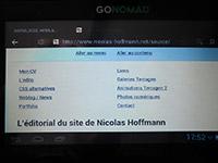 Mon site personnel sur la tablette Go-Nomad