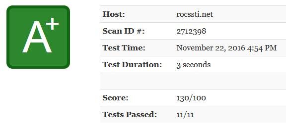 Résultats de Mozilla Observatory pour Röcssti