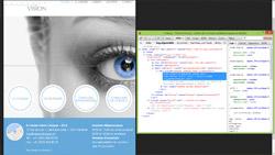 Vision Clinique en iPad en portrait après retouche, avec code CSS affiché