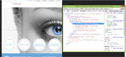 Vision Clinique en iPad en portrait après retouche, avec code CSS affiché (overflow: hidden))