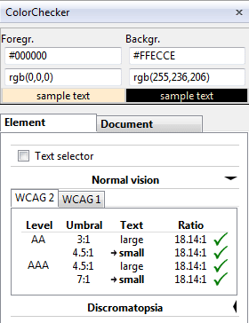 WCAG contrast checker